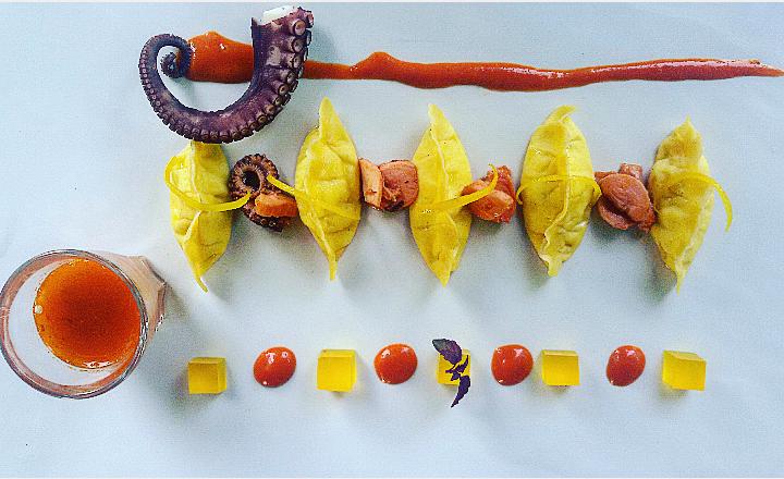 Mezzelune di robiola, guazzetto di polpo mediterraneo e limone candito